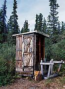 Outhouse on the shore of Kathleen Lake, Kluane National Park, Yukon Territory, Canada.