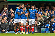 Portsmouth Players Celebrate after Portsmouth Forward, Jamal Lowe (18) scores a goal to make it 2-1 during the EFL Sky Bet League 1 match between Portsmouth and Fleetwood Town at Fratton Park, Portsmouth, England on 16 September 2017. Photo by Adam Rivers.