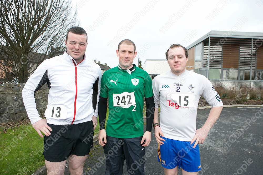 Pictured before taking part in the 10K Fun Run in aid of Chernobyl children Project in Ennis were:<br /> Jason Considine, Gavin Hanrahan & Ryan Power<br /> Pictured Credit Brian Gavin Press 22