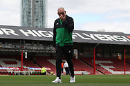 Nottingham Forest Manager Mark Warburton walks on the Griffin Park turf. ahead of the game.  EFL Skybet football league championship match, Brentford  v Nottingham Forest at Griffin Park in London on Saturday 12th August 2017.<br /> pic by Steffan Bowen, Andrew Orchard sports photography.