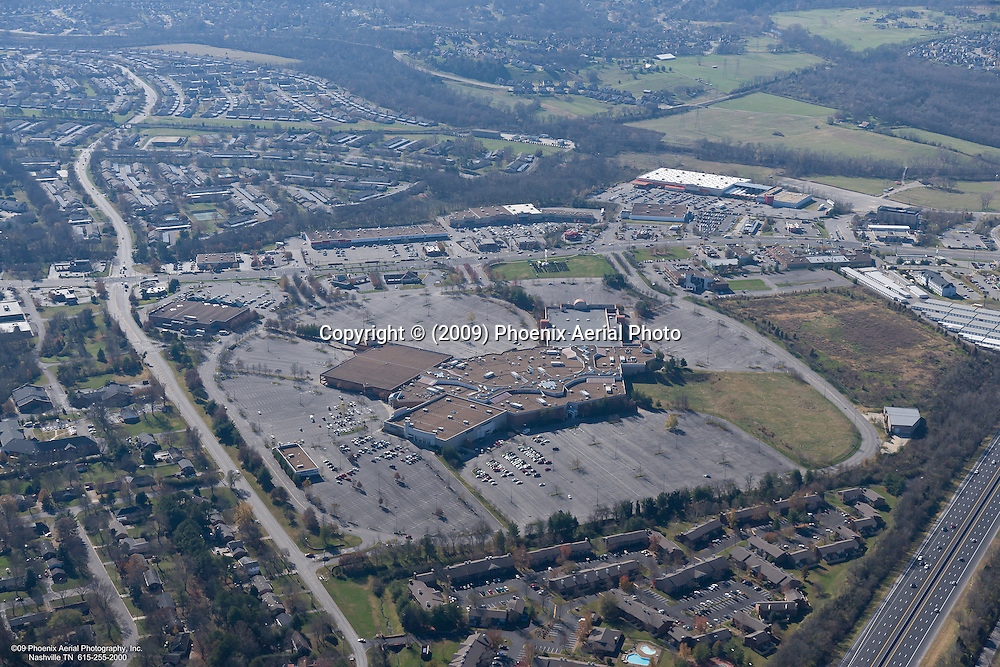 Aerial photo showing the Bellevue Mall in Nashville Tennessee on Black Friday.