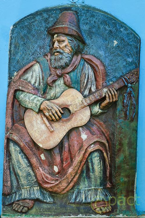 Relief sculpture of Santos Vega by Luis Perloyti, Caminito Street, Buenos Aires, Argentina