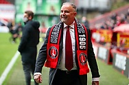 Charlton Athletic owner Thomas Sandgaard wearing Charlton Athletic scarf and smiling whilst walking on touchline during the EFL Sky Bet League 1 match between Charlton Athletic and AFC Wimbledon at The Valley, London, England on 12 December 2020.