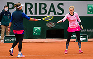 Katerina Siniakova and Barbora Krejcikova of the Czech Republic in action during the doubles semi-final of the Roland Garros 2020, Grand Slam tennis tournament, on October 9, 2020 at Roland Garros stadium in Paris, France - Photo Rob Prange / Spain ProSportsImages / DPPI / ProSportsImages / DPPI