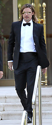 Brad Pitt coming out from Hotel Eden-Roc and heading to Killing Them Softly premiere in Cap D'Antibes, France on May 22, 2012 with a drink in his right hand that he tries to hide. Photo by ABACAPRESS.COM