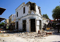 July 21, 2017 - Kos Island, Greece - Rubble sit outside a bar where two people have been killed after an earthquake in Kos on the island of Kos. Greek authorities said two tourists were killed in the overnight quake. (Credit Image: © Eurokinissi via ZUMA Wire)