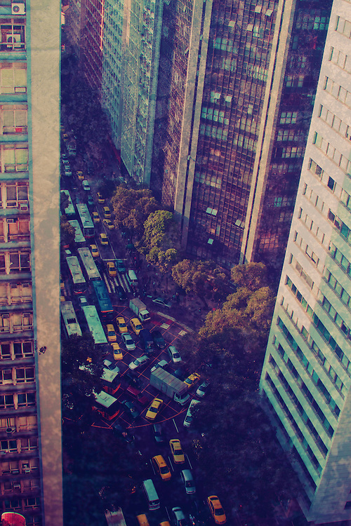 Traffic jam colors. View from heights of the hectic traffic jam in Downtown Rio de Janeiro.