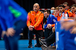 The Dutch handball coach  Erlingur Richardsson in action against Slovenia during the European Championship qualifying match on January 6, 2020 in Topsportcentrum Almere