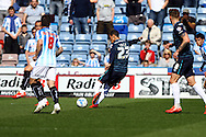 Thomas Ince of Derby County (c) shoots and scores his teams 1st goal. Skybet football league championship match, Huddersfield Town v Derby county at the John Smith's stadium in Huddersfield, Yorkshire on Saturday 18th April 2015.<br /> pic by Chris Stading, Andrew Orchard sports photography.