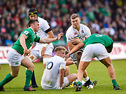 England flanker Will Evans drives into Ireland prop Ben Betts during the World Rugby U20 Championship Final   match England U20 -V- Ireland U20 at The AJ Bell Stadium, Salford, Greater Manchester, England onSaturday, June 25, 2016. (Steve Flynn/Image of Sport)
