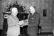 "08/05/1964<br /> 05/08/1964<br /> 08 May 1964<br /> Presentation of a ""Digest of International Law"".<br /> U.S. Ambassador, Mr. Matthew McCloskey presents the first two volumes of a ""Digest of International Law"" to Mr. Frank Aiken T.D., Minister for External Affairs at Iveagh House, Dublin. The Digest was the first produced since the Second World War, prepared by Assistant Legal Advisor Majorie Whiteman and published by the U.S. Department of State."