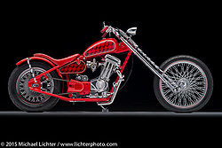 """""""Twisted Clifford"""", built from a red 2003 Buell Blast by Dan Rognsvoog of Cabana Dan's Customs in Franksville, WI. Photographed by Michael Lichter at the Columbus Easyriders Show on February 21, 2015. ©2015 Michael Lichter."""