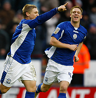 Photo: Steve Bond/Richard Lane Photography. Leicester City v Scunthorpe United. Coca Cola Championship. 13/02/2010. Martyn Waghorn celebrates