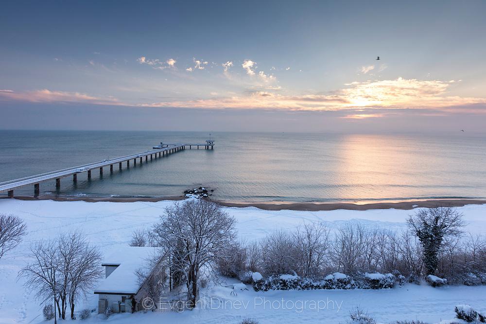 Burgas in snowy winter morning