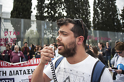 April 4, 2017 - Athens, Greece - Special Education Teachers demonstrate in front of the Ministry of Education in Athens demanding more funds for special education and no more austerity. (Credit Image: © George Panagakis/Pacific Press via ZUMA Wire)