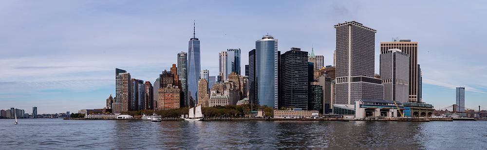 Panoramic view of the Lower Manhattan skyline, New York, New York, USA