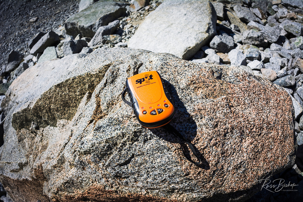 SPOT Messenger (personal communicator) on boulder, John Muir Wilderness, California