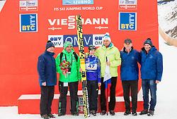 Coach Stane Baloh, Maja Vtic of Slovenia, Borut Pahor, president of Slovenia, Joze Mermal of BTC and Alojz Murko of SSK Ljubno during the Trophy ceremony at Day 2 of World Cup Ski Jumping Ladies Ljubno 2016, on February 14, 2016 in Ljubno, Slovenia. Photo by Vid Ponikvar / Sportida