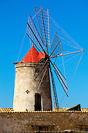 Ettore Infesera windmill, Masala Sicily. travel stock photos .<br /> <br /> Visit our SICILY PHOTO COLLECTIONS for more   photos  to download or buy as prints https://funkystock.photoshelter.com/gallery-collection/2b-Pictures-Images-of-Sicily-Photos-of-Sicilian-Historic-Landmark-Sites/C0000qAkj8TXCzro<br /> If you prefer to buy from our ALAMY PHOTO LIBRARY  Collection visit : https://www.alamy.com/portfolio/paul-williams-funkystock/trapanimaslalasaltpans.html