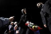 Il presidente della Camera Laura Boldrini al Teatro Eliseo riceve un mazzo di fiori da un ammiratore in platea al termine della presentazione del libro di Walter Veltroni 'E se noi domani'<br /> Roma - 03 Giugno 2013. Matteo Ciambelli / OneShot