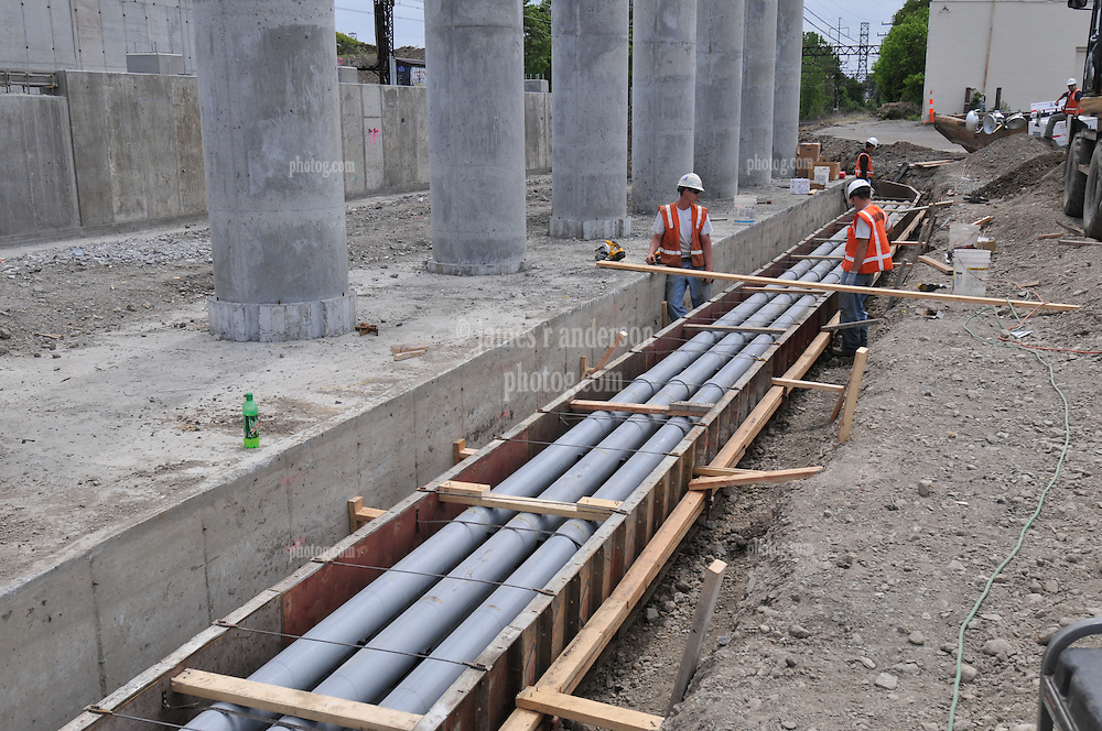 Additional View of Electrical Conduit in Trench taken during Construction Progress Photography of the Railroad Station at Fairfield Metro Center - Site visit 11 of once per month Chronological Documentation.