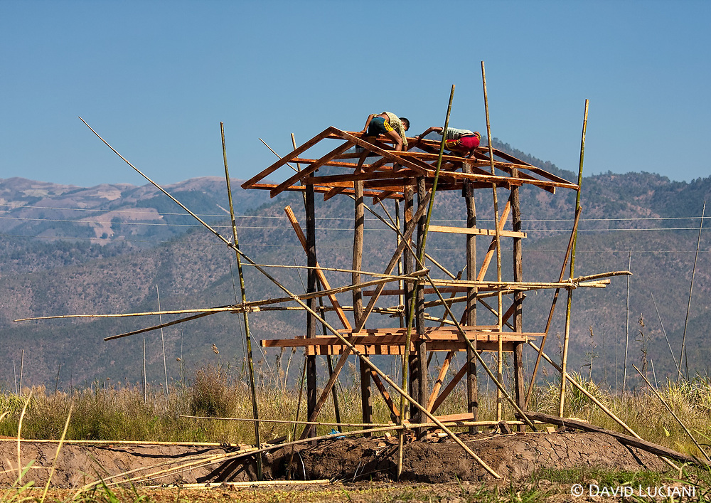 The houses built at Inle and its surroundings are usually constructed with wood. In the water, the floating village houses are built on stilts. Bamboo is one of the main components of these buildings, as also the scaffolding around the skeletal construction as it is shown on the photo.