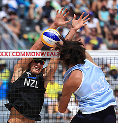 New Zealand's Sam O'Dea and Cyprus' Georgios Chrysostomou in action during the Men Preliminary - Pool C Beach Volleyball match at Coolangatta Beachfront during day two of the 2018 Commonwealth Games in the Gold Coast, Australia.