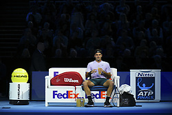 November 16, 2017 - London, England, United Kingdom - Switzerland's Roger Federer  takes a break during the men's singles round-robin match with Croatia's Marin Cilic on day five of the ATP World Tour Finals tennis tournament at the O2 Arena in London on November 16, 2017. (Credit Image: © Alberto Pezzali/NurPhoto via ZUMA Press)
