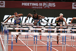 February 7, 2018 - Paris, Ile-de-France, France - From left to right : Loic Desbonnes of France, Jarret Eaton of USA, Simon Krauss of France compete in 60m Hurdles during the Athletics Indoor Meeting of Paris 2018, at AccorHotels Arena (Bercy) in Paris, France on February 7, 2018. (Credit Image: © Michel Stoupak/NurPhoto via ZUMA Press)