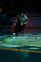 KELOWNA, BC - JANUARY 8:  Referee Ward Pateman enters the ice at the Kelowna Rockets against the Victoria Royals at Prospera Place on January 8, 2020 in Kelowna, Canada. (Photo by Marissa Baecker/Shoot the Breeze)