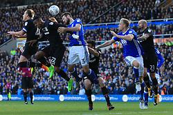 29th October 2017 - Sky Bet EFL Championship - Birmingham City v Aston Villa - Jonathan Kodjia of Villa (2L) fires a header just wide - Photo: Simon Stacpoole / Offside.