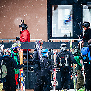 People line up for the opening of the Tram and Gondola during a monster winter storm at Jackson Hole Mountain Resort in Teton Village, Wyoming.