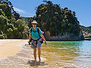 A tramper hikes on sandy Mutton Cove Beach, along the Abel Tasman Coastal Track, Abel Tasman National Park, South Island, New Zealand. Book huts using the Great Walk reservation system. For licensing options, please inquire.