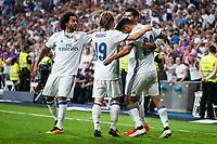 Real Madrid's player Marcelo, Luka Modric, Marco Asensio and Alvaro Morata celebrating a goal during a match of La Liga Santander at Santiago Bernabeu Stadium in Madrid. August 27, Spain. 2016. (ALTERPHOTOS/BorjaB.Hojas)
