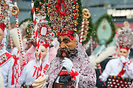 Imst Schemenlaufen, a traditional carnival held only once every four years in Imst, Tirol, Austria (31 January 2016). The Schemenlaufen is inscribed on the UNESCO list of Intangible Cultural Heritage. Pictured here, the Scheller and Roller pick members if the crowd to perform a short dance for. © Rudolf Abraham