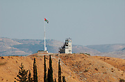 View of the A Jordanian border post on the border between Israel and Jordan Jordan Valley from the west ? Israel