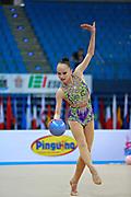 Ashirbayeva Sabina during qualifying at ball in Pesaro World Cup 10 April 2015.<br /> Sabina born on November 5, 1998 in Shymkent, she is an individual Kazakh rhythmic gymnast.