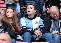 Blackburn Rovers' fans during the match<br /> <br /> Photographer David Shipman/CameraSport<br /> <br /> Football - The EFL Sky Bet Championship - Wigan Athletic v Blackburn Rovers - Saturday 13th August 2016 - DW Stadium - Wigan<br /> <br /> World Copyright © 2016 CameraSport. All rights reserved. 43 Linden Ave. Countesthorpe. Leicester. England. LE8 5PG - Tel: +44 (0) 116 277 4147 - admin@camerasport.com - www.camerasport.com