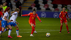 NEWPORT, WALES - Thursday, October 22, 2020: Wales' Georgia Walters shoots during the UEFA Women's Euro 2022 England Qualifying Round Group C match between Wales Women and Faroe Islands Women at Rodney Parade. Wales won 4-0. (Pic by David Rawcliffe/Propaganda)