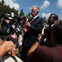 GAINESVILLE, FL -- Sept. 10, 2010 -- Florida pastor Terry Jones, whose plans are on hold to burn the Koran on Sept. 11th, speaks during a press conference outside of the Dove World Outreach Center in Gainesville, Fla., on Friday, September 10, 2010.  (Chip Litherland for The New York Times)