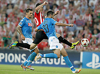 Athletic de Bilbao's Aritz Aduriz (c) and SSC Napoli's Christian Maggio (l) and Raul Albiol during Champions League 2014/2015 Play-off 2nd leg match.August 27,2014. (ALTERPHOTOS/Acero)