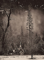 Red Chapel in the Mist. Winter in Yosemite National Park, California. Image taken with a Nikon D3s and 70-200 mm VR lens (ISO 200, 105 mm, f/8, 1/50 sec). Raw image processed with Capture One Pro 7 and NIK Silver Efex Pro 2.