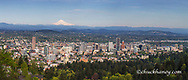 Panoramic of downtown Portland, Oregon, USA with Mt Hood