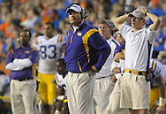 LSU head football coach Les Miles watches the clock wind down during their loss to University of Florida in Gainesville, Florida, October 11, 2008.