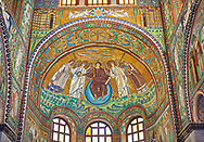 Apse mosaic depicting a clean shaven Christ, Byzantine Roman mosaics of the Basilica of San Vitale in Ravenna, Italy. Mosaic decoration paid for by Emperor Justinian I in 547. A UNESCO World Heritage Site .<br /> <br /> Visit our BYZANTINE MOSAIC PHOTO COLLECTION for more   photos  to download or buy as prints https://funkystock.photoshelter.com/gallery/Byzantine-Eastern-Roman-Style-Mosaics-Pictures-Images/G0000NvKCna.AoH4/3/C0000YpKXiAHnG2k<br /> If you prefer to buy from our ALAMY PHOTO LIBRARY  Collection visit : https://www.alamy.com/portfolio/paul-williams-funkystock/basilica-san-vitale-ravenna.html