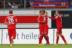 24.09.2014, Voith Arena, Heidenheim, GER, 2. FBL, 1. FC Heidenheim vs 1. FC Nuernberg, 7. Runde, im Bild Marc Schnatterer (1.FC Heidenheim) Patrick Mayer (1.FC Heidenheim) Robert Leipertz ( 1.FC Heidenheim ) nach dem 3:0 // during the 2nd German Bundesliga 7th round match between 1. FC Heidenheim and 1. FC Nuernberg at the Voith Arena in Heidenheim, Germany on 2014/09/24. EXPA Pictures © 2014, PhotoCredit: EXPA/ Eibner-Pressefoto/ Langer<br /> <br /> *****ATTENTION - OUT of GER*****