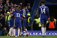 Chelsea players celebrate after Branislav Ivanovic of Chelsa (l) scores his teams third goal. The Emirates FA Cup 4th round match, Chelsea v Brentford at Stamford Bridge in London on Saturday 28th January 2017.<br /> pic by Steffan Bowen, Andrew Orchard sports photography.