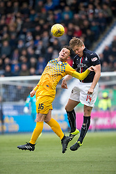 Morton's Lawrence Shankland and Falkirk's Peter Grant. half time ; Falkirk 0 v 0 Morton, Scottish Championship game played 18/3/2017 at The Falkirk Stadium.