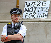 Protesters gather near the Downing Street during a demonstration in Parliament Square in London on Wednesday, June 3, 2020, over the death of George Floyd, a black man who died after being restrained by Minneapolis police officers on May 25. Protests have taken place across America and internationally after a white Minneapolis police officer pressed his knee against Floyd's neck while the handcuffed black man called out that he couldn't breathe. The officer, Derek Chauvin, has been fired and charged with murder. (Photo/ Vudi Xhymshiti)