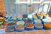 Spices for sale at the early morning market on the streets of Patan, Nepal.